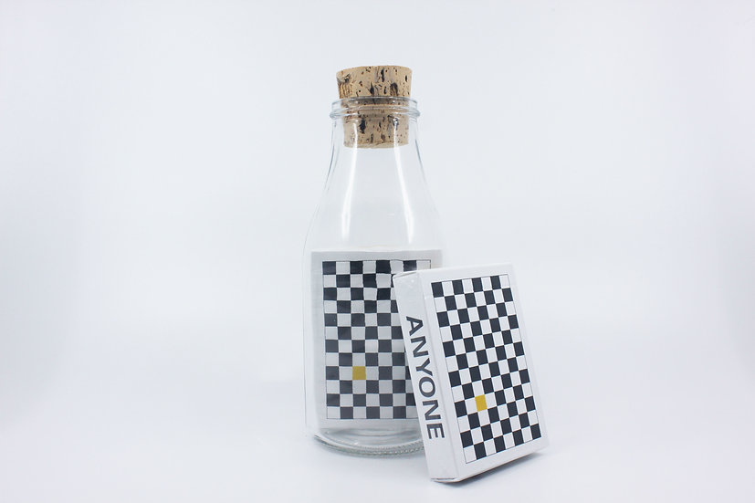 Impossible Bottle of Yellow / Black Checkerboard Playing Cards with Cellophane