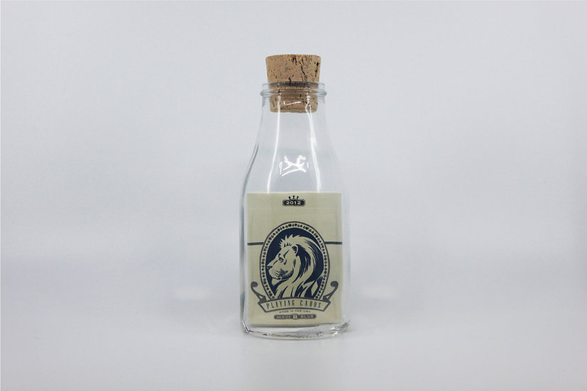 Impossible Bottle of White Lions Series B Blue Playing Cards with Cellophane