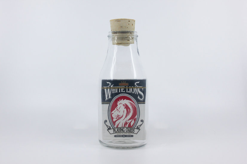 Impossible Bottle of White Lions Series A Red Playing Cards with Cellophane