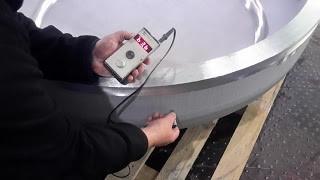 Ultraschall Wandstärkenmessung an einem Klöpperboden