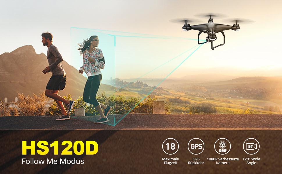 Holy Stone HS120D GPS Drohne mit 1080P Kamera HD Live Übertragung, Follow Me,RC Quadrocopter ferngesteuert mit WiFi APP Steuerung,Coming Home