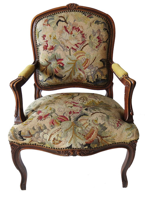 French Louis XV Needlepoint Armchair