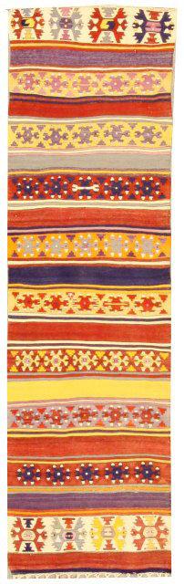 """Anatolian Kilim c. 1920 - 2'4""""x8'1"""""""