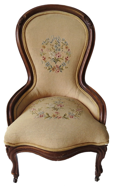 Antique Victorian Needlepoint Chair