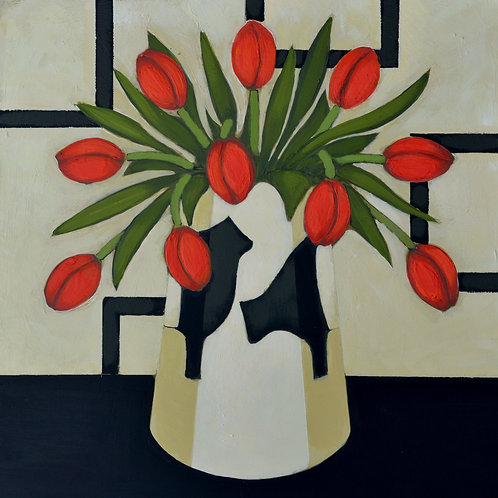 'Red Tulips in a Beltie Vase' Signed Giclée Print