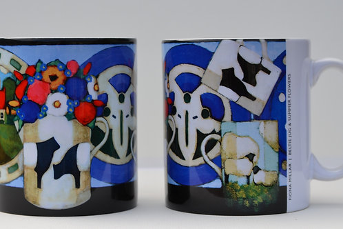 'Beltie Jug & Summer Flowers' Ceramic Mug