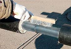 Изоляция стыка с помощью ТУ муфты. Очистить зону стыка от грязи, пыли, влаги и ржавчины.