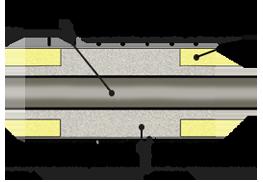 стык ППУ в оцинкованной оболочке для t <250 град.С, схема