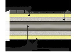 стык ППУ в оцинкованной оболочке для t <180 град.С, схема