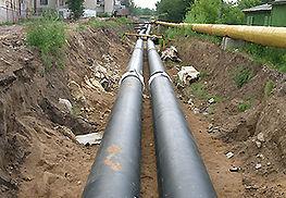 стальные трубы в ППУ-изоляции в полиэтиленовой оболочке на трассе