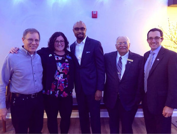 Will County Democratic Central Committee Chair Bill Thoman, Amanda, Circuit Court Judge candidate Vince Cornelius, Judge David Garcia, and State Rep candidate Matt Hunt