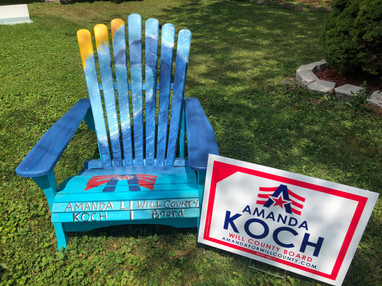 Amanda's chair for Frankfort Fall Fest, July 2018