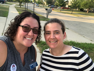 Amanda on the campaigntrail with her friend, Ann