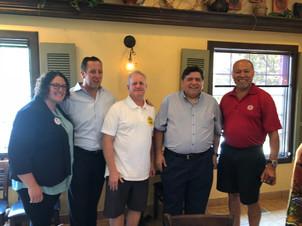 Amanda with State Senator Michael Hastings, Bernie O'Boyle, Gubernatorial candidate JB Pritzker and Tony Garcia