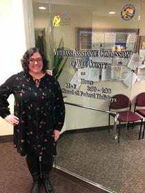 Amanda at the Will County Veterans Assistance Commission where she sits on the board as the Sergeant-at-Arms, November 2017
