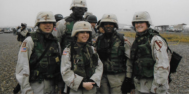 Amanda and fellow soldiers in Baghdad, Iraq December 2004