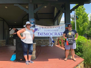 Amanda and Frankfort Township Democrats Chair Emily Biegel at the the Families Belong Together rally and march