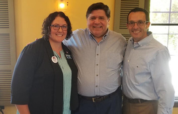 Amanda with Gubernatorial candidate JB Pritzker and State Rep candidate Matt Hunt