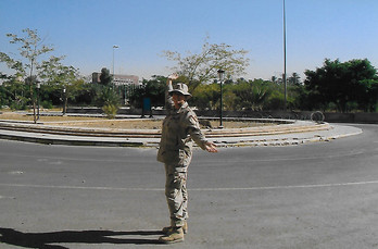 Amanda in the Green Zone outside Baghdad, Iraq August 2004