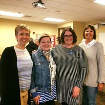 Illinois Democratic Women of Will members Joy Hunt, Michelle Domecki, Amanda, and Sue Myers