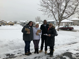 Amanda and friends canvassing for the primaries