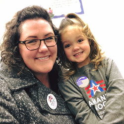 Amanda and her daughter, Violet, on election day March 2018