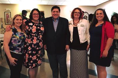Will County Board Candidates Rachel Ventura, Amanda, Meta Mueller, and Mimi Cowan with Gubernatorial Candidate JB Pritzker