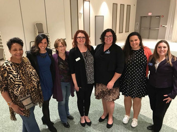 County Board members Denise Winfrey, Lauren Staley Ferry, and Laurie Summers with County Board Candidates Meta Mueller, Amanda, Mimi Cowan, and Rachel Ventura