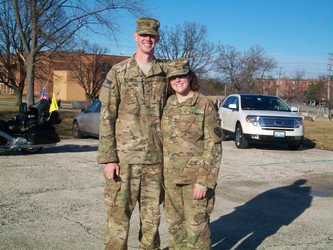 Amanda and her husband Dan the day they returned from Afghanistan, December 2011