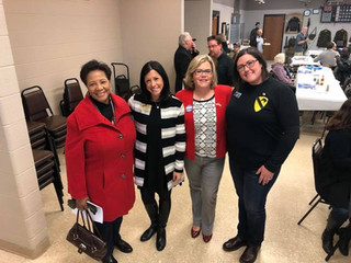 County Board members Denise Winfrey and Lauren Staley Ferry with Moira Dunn and Amanda