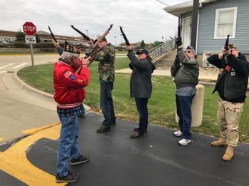Amanda with her VFW rifle team on Veterans Day, November 2017