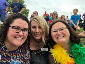 Amanda and friends Laura and Jackie at the Mokena Pride Fest