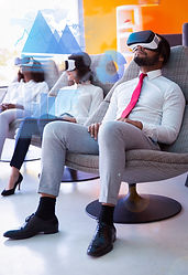 Customers testing VR product and virtual