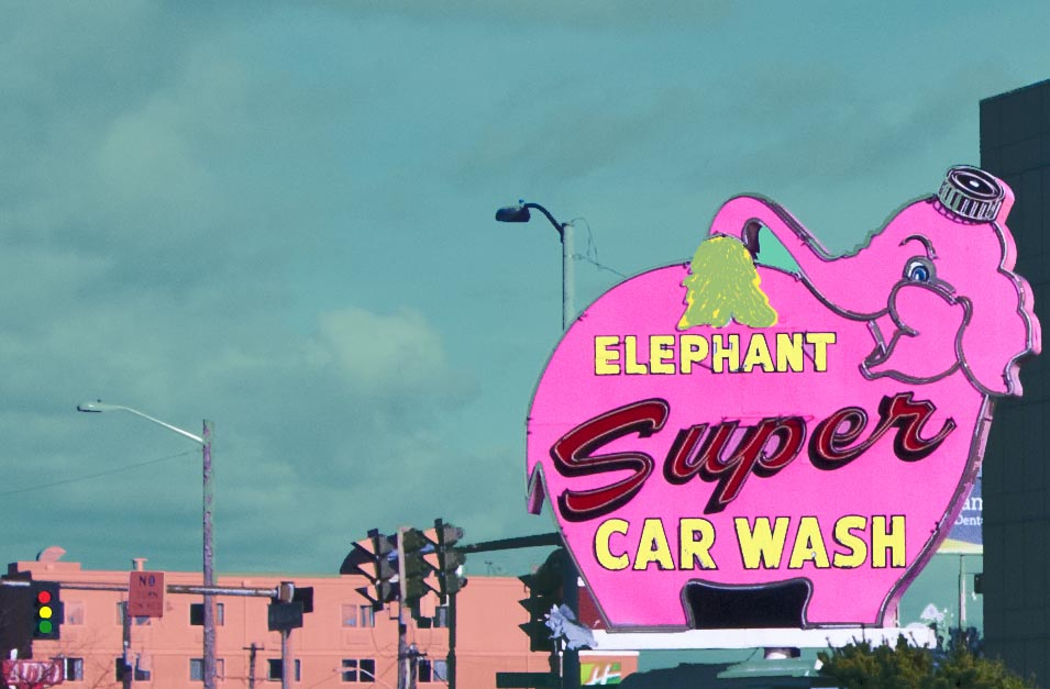 Pink Elephant Sign Seattle, WA