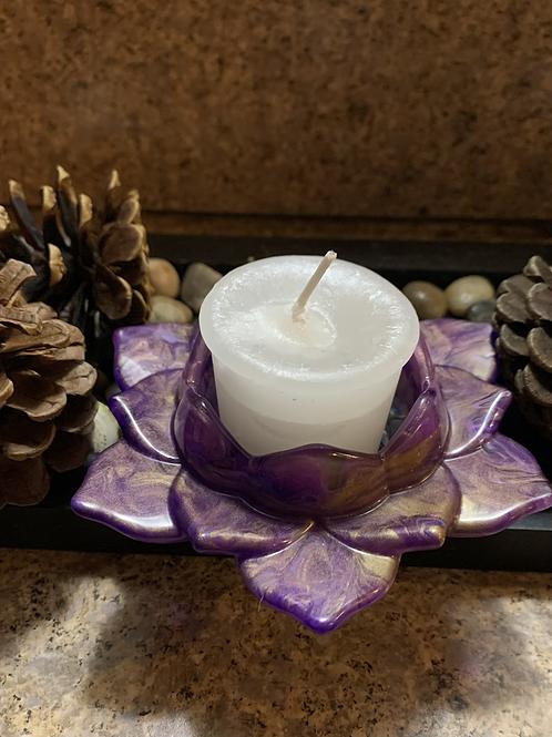 Purple marble lotus candle holder