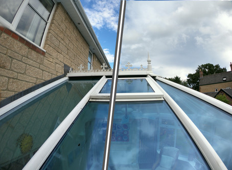 Before and after of a conservatory roof clean in Chippenham