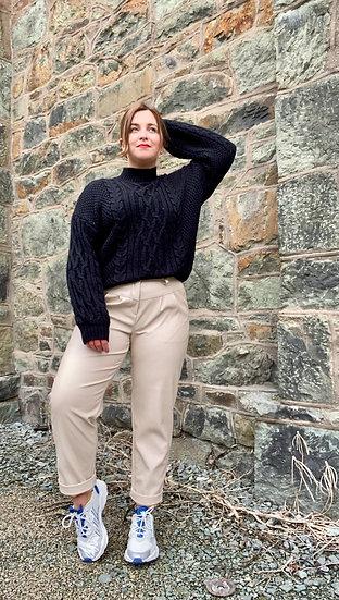 Beige pleather trousers