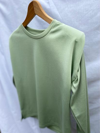 Mint green padded shoulder sweatshirt