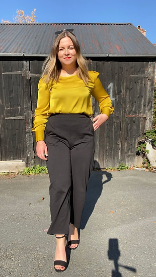 Citrus satin blouse with puff sleeve