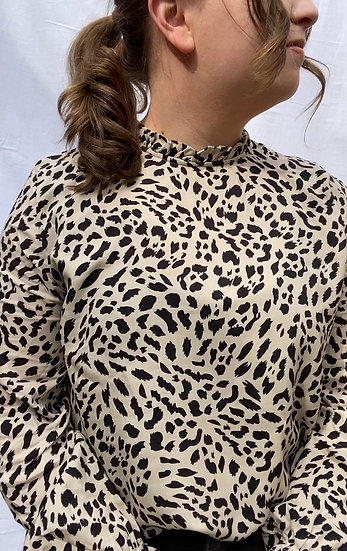 Leopard blouse with frill neck detail