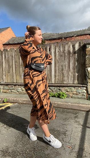 Tiger print shirt dress