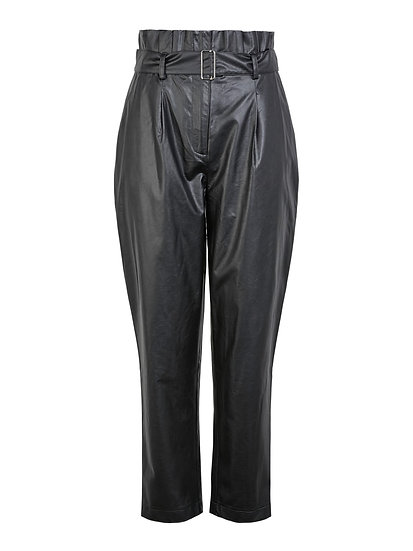 Pieces High Waisted Faux Leather Trousers