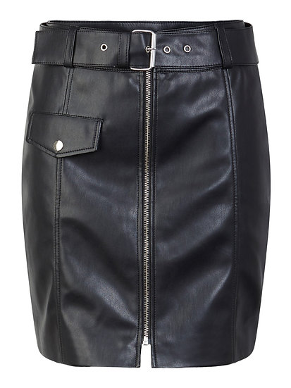Pieces Hanna High Waisted Faux Leather Skirt