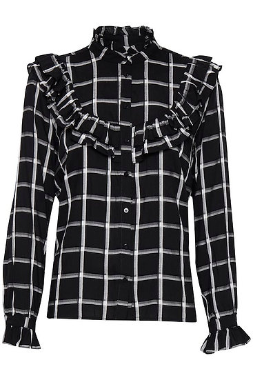 BYOUNG frill check blouse