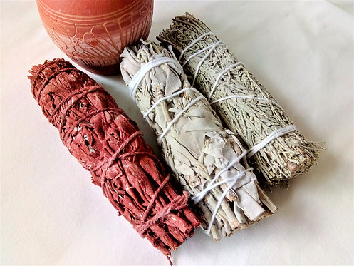 Pack of Native American smudge sticks, white, blue and red sage