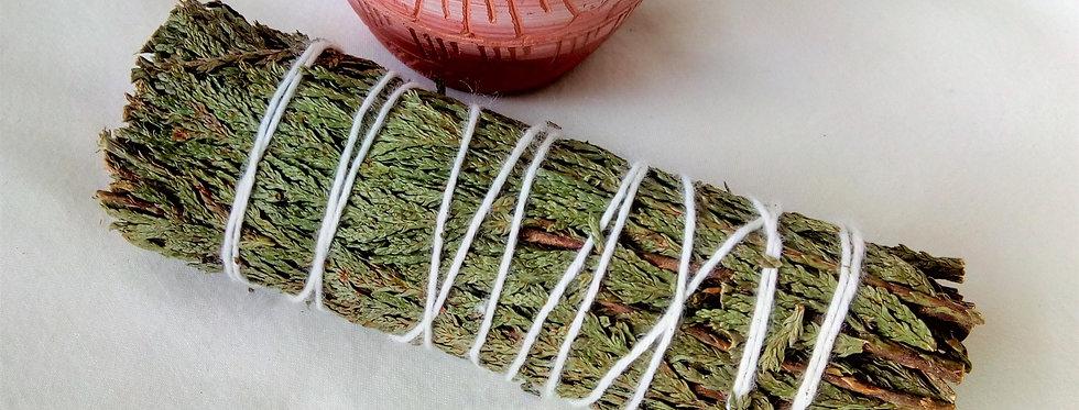 "Western Flat Leaf Cedar 4"" Smudge Stick."