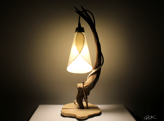 Lampe bois flotte bois perdu nature abat