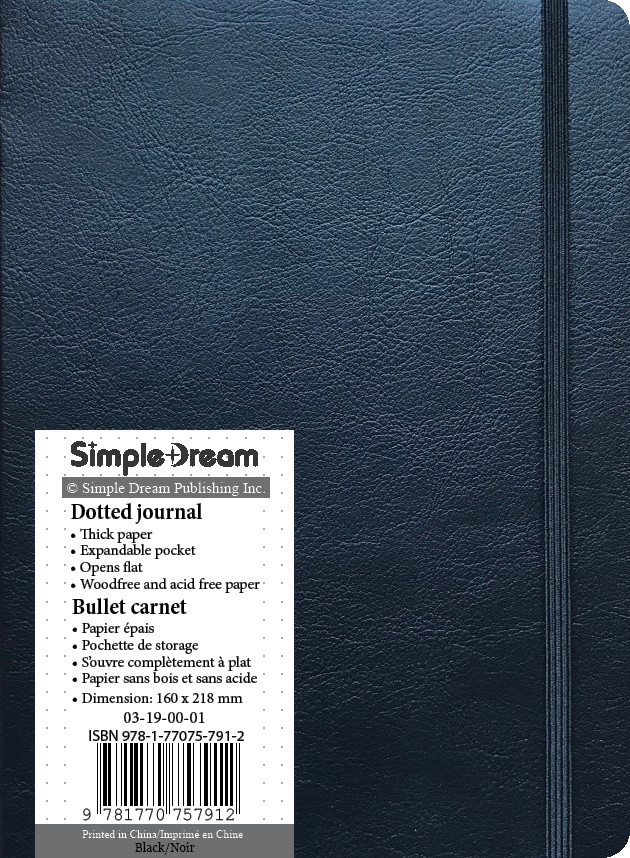 Faux Leather Dotted Journal - Black