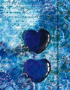 Metallic Paper Covered Journal - Blue Hearts