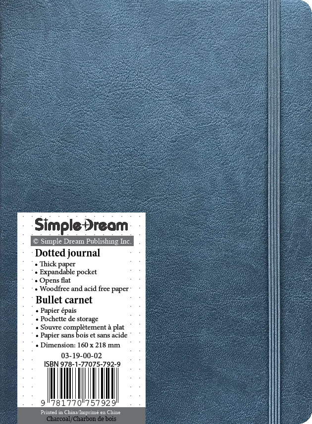 Faux Leather Dotted Journal - Charcoal